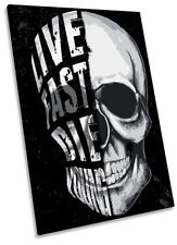 More details for skull live fast die young framed canvas print portrait wall art