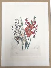 Hand Signed Salvador Dali Etching, Surrealistic flowers; Pirate's Gladioli 1972