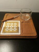 Vintage 1960s Wooden Cheese H'Orderves Tray with Dip bowl /Knife Japan  MCM  9X9