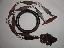 Demi parure collana con rombi e ritratto di donna più bracciale bangle in legno