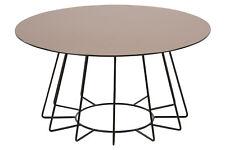 Couchtisch Oval mit Glasplatte Wohnzimmertisch Tisch Metallgestell Bronze Chrom