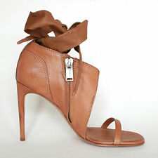 RICK OWENS $1,400 brown leather wrap tied ankle spike heel sandal shoes 41 NEW