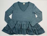 Deletta Womens Medium Blue Thea Ruffle Peplum Thermal Top Blouse Long Sleeve