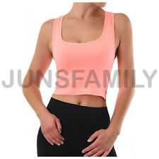 Womens Cropped Scoop Neck Racer Back Basic Crop Tank Top Seamless GYM One size