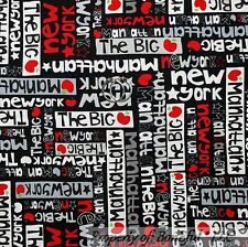 BonEful Fabric Cotton Quilt Black Red Gray B&W New York City Word Star VTG SCRAP