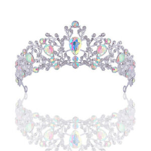 4.5cm High AB Clear Drip Crystal Silver Wedding Queen Princess Prom Tiara Crown
