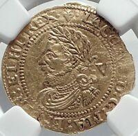 1623 GREAT BRITAIN UK King JAMES I of KJV Bible) GOLD 1/4 Laurel Coin NGC i82506
