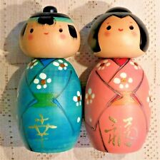 TWO (2) VINTAGE MID-20th CENTURY KOKESHI HAND PAINTED WOODEN DOLLS - JAPAN
