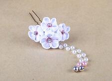 Handmade Japanese Traditional white sakura pearl Tsumami Kanzashi Hair Clip Pin
