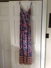 Leilani Size M Bali Beach Multi Color Palm Printed Sleeveless Maxi Sun Dress