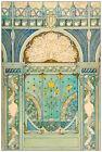 Art Nouveau Repro Postcard - Peacock and Sunflowers Design - Blue, Gold, Green