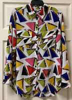 Mishca Womens L Vibrant Color Long Sleeve Button Up Blouse Top Pockets Roll Tab
