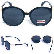 Fashion Designer Sunglasses Retro Kpop Style Black Lens Glasses Black Gold