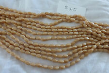 écheveau lot de 600 perles ancienne  en verre marron caramel 9 X 6 mm