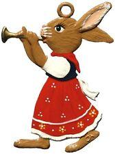 Artist Wilhelm Schweizer German Hanging Ornaments Zinn - Bunny Playing Trumpet