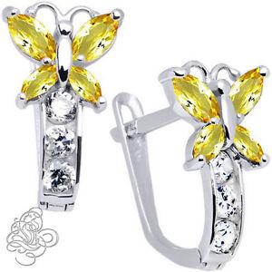 Birthstone Butterfly Gemstone Drop Earrings 925 Sterling Silver Leverback