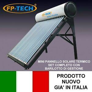 PANNELLO SOLARE TERMICO ACQUA CALDA ACCIAIO INOX 100 LT TUBI SOTTOVUOTO NATURALE