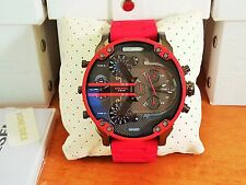 Brand New DIESEL DZ7370  MR.DADDY MEN'S RED 4 TIME Zone Watch