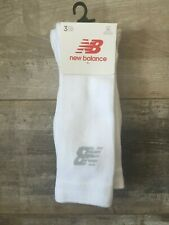 New Balance Mens 3 Pack White Cushioned Crew Trainer Cotton Socks Large 9-11
