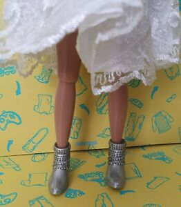 Sindy / Fashion doll size Silver Faux Stud Buckle Ankle Boots Creatable 1:6