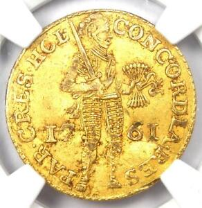 1761 Netherlands Holland Gold Provincial Ducat Coin (1D) - NGC Certified Genuine