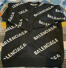 Balenciaga All over logo Knit Sweater Jumper Large Black Wool