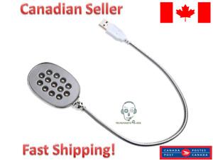 Flexible Gooseneck USB Laptop Wall Reading Lamp with 13 White Light LED