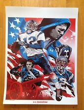 Tom Brady Under Armour Illustrated Poster 18 X 24 New England Patriots Champions