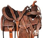 16 17 in WESTERN Antique TRAIL HORSE LEATHER SADDLE TACK