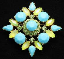 JOAN RIVERS Ornate Turquoise Lime Green Citrine Rhinestone Cluster Brooch Pin