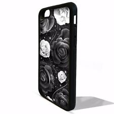 Black and white rose floral flower girly pattern cover case for Iphone 8 8 plus