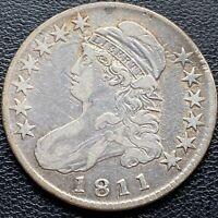 1811 Capped Bust Half Dollar 50c Higher Grade XF + DIE CLASH on Obverse #25767