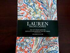New Ralph Lauren Jacqueline Paisley Persimmon Orange Blue Cream Napkins 4pc