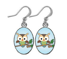 LAVISHY Drop Earrings BIG EYE OWL Rhodium Jewelry POP ART PENDANT Bird Hootie