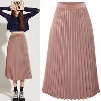 Women Double Layer Chiffon Pleated Dress Long Elastic Waist Maxi Dress Skirt