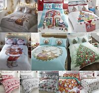 FATHER CHRISTMAS TREE SANTA REINDEER SNOWMAN QUILT DUVET COVER BEDDING LINEN SET