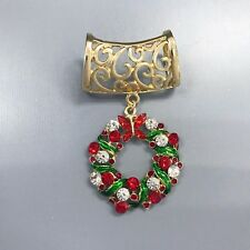 Clear Stones Filigree Design Scarf Charm Gold Finish Christmas Wreath Red Green