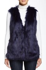 Romeo and Juliet Couture Faux Fur Vest Jacket NWT - Navy Blue $195