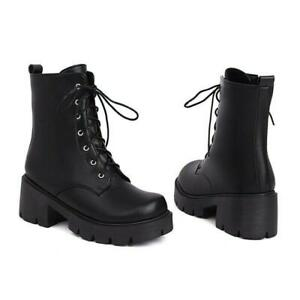 Womens British College Lace Up Biker Low Heel Round Toe Ankle Boots Shoes 42 43