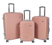 Suitcases ABS Strong Hard Shell 4 Wheels Lightweight PINK Luggage Trolley Bags