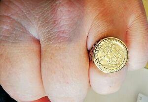 St George set signet ring - solid 9ct gold, full hallmark. Free Insured P&P #Mf