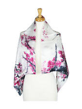 Pink Floral Mulberry Satin Silk Stole Women Square Scarf