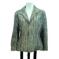 CHICO'S 1 Women's Size M/8 Jacket Silver/Black Metallic Long Sleeve Blazer Open