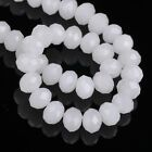 72pcs 8x6mm Rondelle Faceted Crystal Glass Loose Beads Jade White