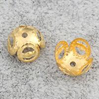 100 Perlenkappen Filigran 8mm Gold Metall Spacer Zwischenteile Schmuck BEST M485