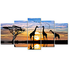 Art Print on Canvas Picture Photo Landscape Sunset Giraffe Home Decor Framed 5PC