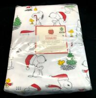 New Pottery Barn Kids Organic Flannel Peanuts SNOOPY Christmas TWIN Sheet Set!