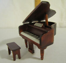 3 inch Miniature Dollhouse Grand Piano with Bench Victorian Wood Furniture