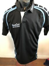 Mens Large Kooga Rugby Jersey Black and Light Blue New With Tags Nwt