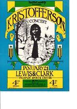 KRIS KRISTOFFERSON Concert '72 Handbill Portland EXCLNT CONDITION Great Graphics